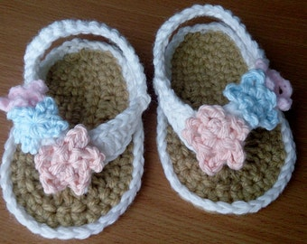 Baby Flipflop Sandals  3 to 6 months 100% Cotton Crocheted Baby Booties
