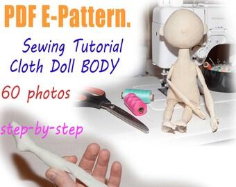 PDF cloth doll body Pattern & Tutorial, doll sewing pattern, pdf dolls pattern, cloth doll pattern, rag doll pattern, doll patterns