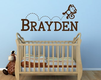 Monkey Name Wall Decal - Monkey Wall Decal - Name Wall Decal - Jumping Monkey Decal Nursery Decor - Nursery Wall Decal