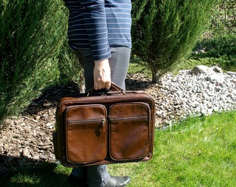 Leather Suitcase, Leather Briefcase, Laptop bag, Weekender, Brown Business Bag, Travel Work Briefcase, Leather Satchel Overnight Bag