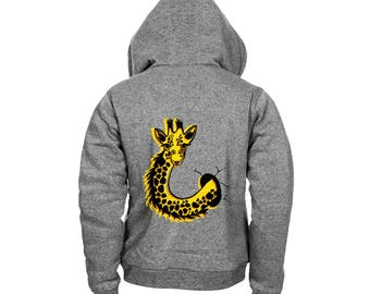 Giraffe Animal print on the back of Hoodie - HD full colour print on hood - MUF-12430