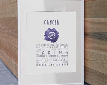 Cancer, Zodiac, Astrology, Zodiac Art Print, Cancer Art Print, Cancer Zodiac, Cancer Poster, Astrology Art, Cancer Gift,  Astrology Gift
