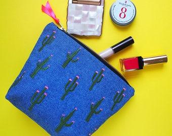 Embroidered Cactus Denim Make Up Bag