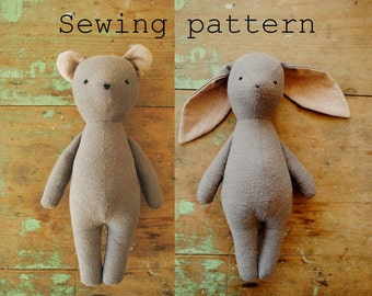 Bunny rabbit and teddy bear stuffed animal doll / soft toy PDF sewing pattern tutorial