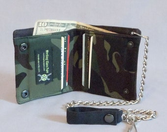 Vegan Chain Wallet Army Green Camouflage, Black Canvas, Bi-fold Wallet, Detachable Chain, Military Style