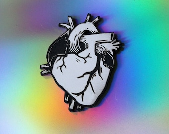 Anatomical Heart Pin, black and white, laser cut acrylic