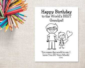 Birthday Coloring Printable- Girl & Grandpa- Birthday Card to Grandpa from Granddaughter