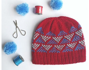 Red knitted beanie hat. Fun and modern geometric hat in red and blue. Small adult/teen size - men and women