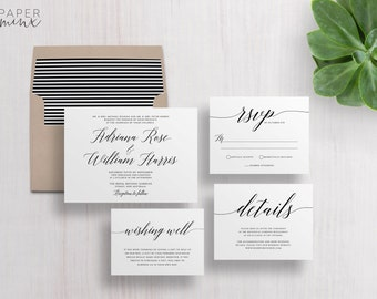Wedding Invitation | Wedding Invitation Suite | Calligraphy Invitation | Black and White Invitation | Printed Wedding Suite | Adriana
