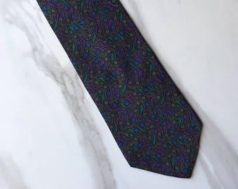 Christian Dior Men's Purple Blue Green Silk Tie