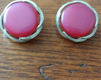 Pink and Silver Lisner Clip Earrings