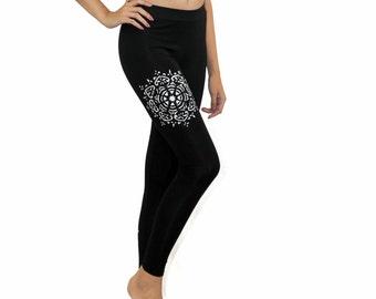 Painted Leggings | Mandala Leggings | Tights w\ Mandala | Festival Leggings | Mandala Clothing | Yoga Pants | Hand Painted Clothes