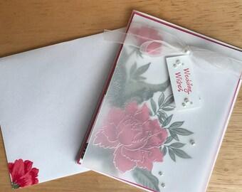 Wedding card, wedding wishes greeting card, floral wedding card, pink wedding card