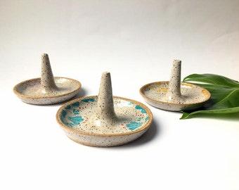 White Speckled Ring Holder-Ceramic Ring Holder, Ring Dish