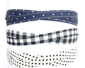 Sale Black and Navy headbands, adjustable headband, headband for women, gift for her, gift under 10, fabric thin headbands, tween headband