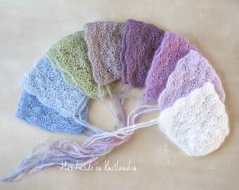 Newborn Hat & Pants, Various Colours, Newborn Photo Prop, Mohair Crochet Bonnet and Pants