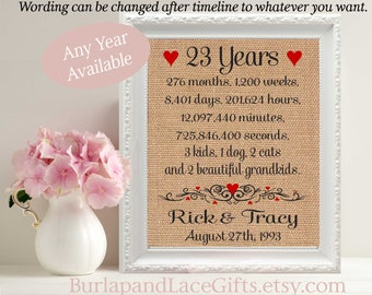 23rd Anniversary | 23 Years Together | Years Months Weeks Days Hours Minutes Seconds | 23rd Wedding Anniversary Gift Wife (ana207-23)