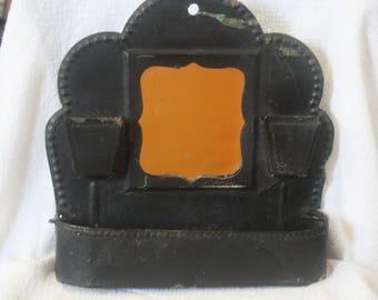 Antique Black Tin Shave Mirror Survivor