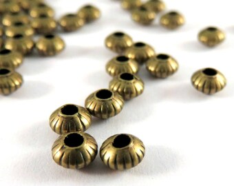 50 Antique Bronze Spacer Beads Ribbed Saucer Plated Brass 5x3mm 1mm hole - 50 pc - 6163-8