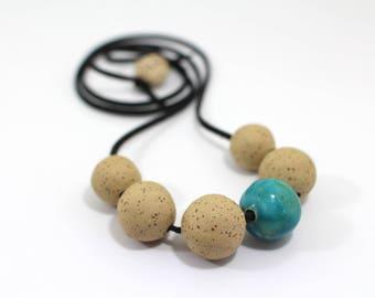Ceramic necklace Ball necklace Ceramic beads Necklace Statement Necklace Ceramic Jewelry Urban Chunky necklace Boho chic jewelry