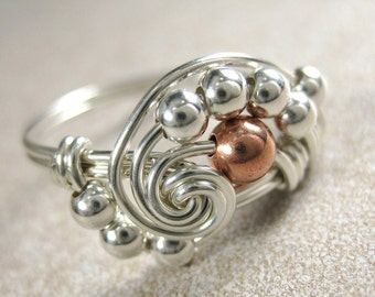 Mixed Metals Ring Wire Wrapped Copper and Sterling Silver Pi