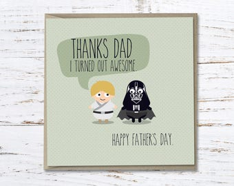 Father's Day Card // Star Wars // Luke Skywalker // Darth Vader // Gift for Dad // Greeting card