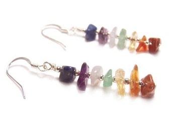 Sterling silver Chakra earrings gemstone chips - amethyst citrine carnelian aventurine