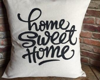 Home Sweet Home Pillow Cover, Throw Pillow Cover, 16x16, 18x18, Envelope Style Pillow Cover, Canvas Pillow Cover, Pillow Sham, Housewarming