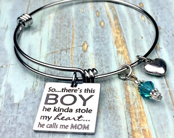 This boy stole my heart and calls me mom bangle bracelet, gift for mom, mother and son, love my son