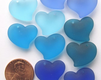Sea Glass PENDANTS 18mm Puffed Heart Top Drilled Assorted Blue Pairs Pendant Making Sea glass jewelry