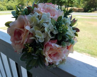 Rustic Country Wedding Succulent Hydrangeas Blush Pink with Lace Bridal Flower Bouquet