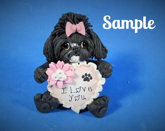 Black with white chin Shih Tzu Dog  I LOVE YOU heart sculpture Polymer Clay art by Sally's Bits of Clay