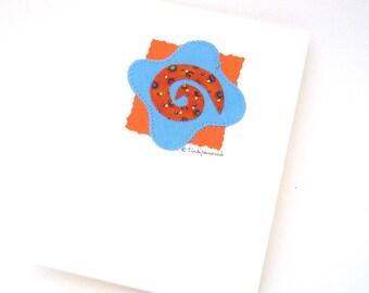Mixed Media Greeting Card Original, Spiral Turquoise Orange Beaded