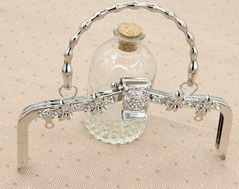 "1pc 20cm/7.87"" coin metal frame portable purse frame purse frame with handle bag frame handbag frame clutch bag frame PU015"