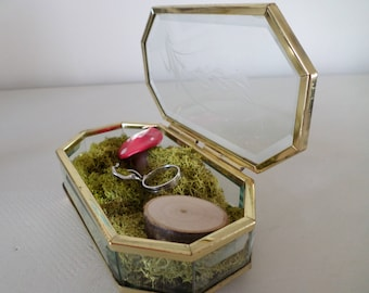 vintage glass and brass box ring keeper