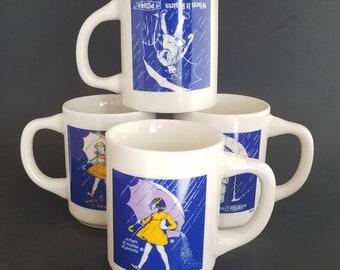 Vintage Morton Salt Logo Advertising Mugs - Set of Four (4) Umbrella Girl, When It Rains It Pours Slogan 1914, 1921, 1956, 1968, Collectible