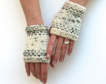 Ready to Ship: Beaded Mitts - Fingerless Gloves - Hand Knit Gloves - Merino Gloves - Short Gloves - Hand Warmers - Wrist Warmer - Amy LaRoux
