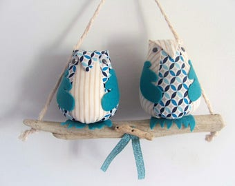 Mobile hanger, wall hanging, two owls on their swing drift wood