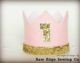 PINK AND GOLD Crown Birthday Party Hat Cake Smash Headband Glitter Girl Custom First One