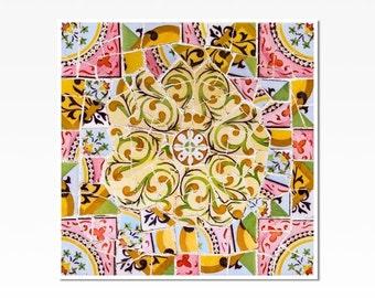 Barcelona print, Spanish tile, Tile wall art, Wall Art Prints, Fine Art print, Gaudí, mosaic wall art,