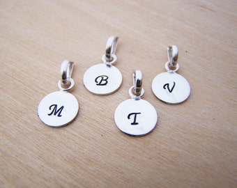 Hand Stamped German Silver Initial Charm / DIY Necklace / Alphabet Initial Pendant - Jewelry Findings - Jewelry Supplies - DIY Charm