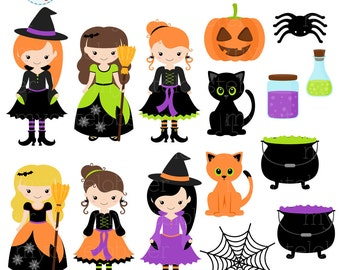 Witches Clipart Set - clip art set of witches, halloween clipart, cats, cauldron  - personal use, small commercial use, instant download