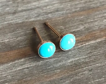 Tiny Turquoise Stud Earrings // 14k Gold Studs // Solid Gold // 3mm 4mm 5mm 6mm // Sleeping Beauty Turquoise