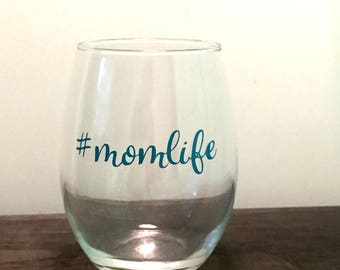 Mom life stemless wine glass - mothers day gift - christmas gift - birthday gift - baby shower gift
