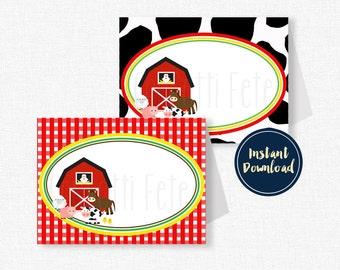 Farm Animals Food Labels, Barnyard Buffet Cards, Barnyard Birthday Decorations, Printable Food Labels INSTANT DOWNLOAD