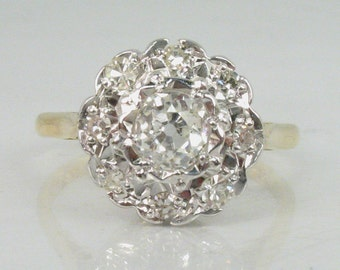Antique Old Mine Cut Diamond Engagement Ring - 0.79 Carats Diamond Total Weight - 18K Gold - Appraisal Included