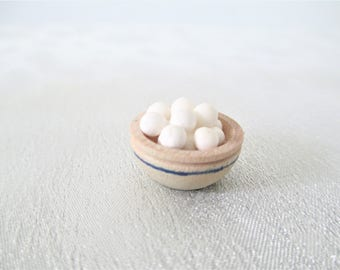 Vintage Miniature Bowl Of Eggs, Dollhouse Mini Bowl Of Eggs, Dollhouse Miniature Food