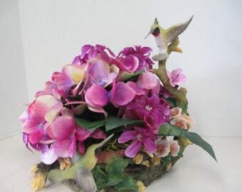 Floral Arrangement with Hummingbird bird figurine on floral arrangement OOAK