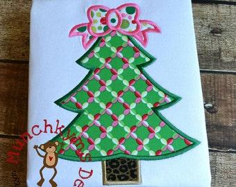 Christmas Tree Bow Applique