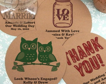 Classic Wedding Kraft Paper Coasters, Round Kraft Paper Coaster - Set of 12